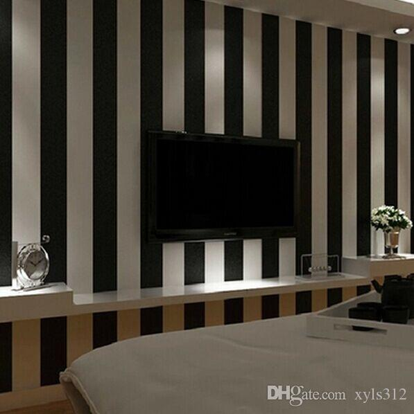 balck and white Vertical stripes wallpaper roll Modern Brief Vertical Wallpaper Roll For Living room background wall home decor W013