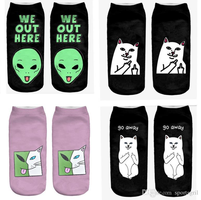 3D Printed Cat Socken Unisex Lustige Socken Frauen Männer Low Zeigen Sport Socke Hip Hop Skateboard Brief Low Cut Socken
