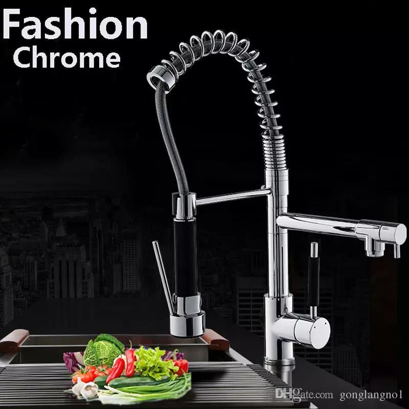Moderne Chrom Messing Frühling Küchenarmatur Schwenkauslauf Waschbecken Mischbatterie Deck Halterung
