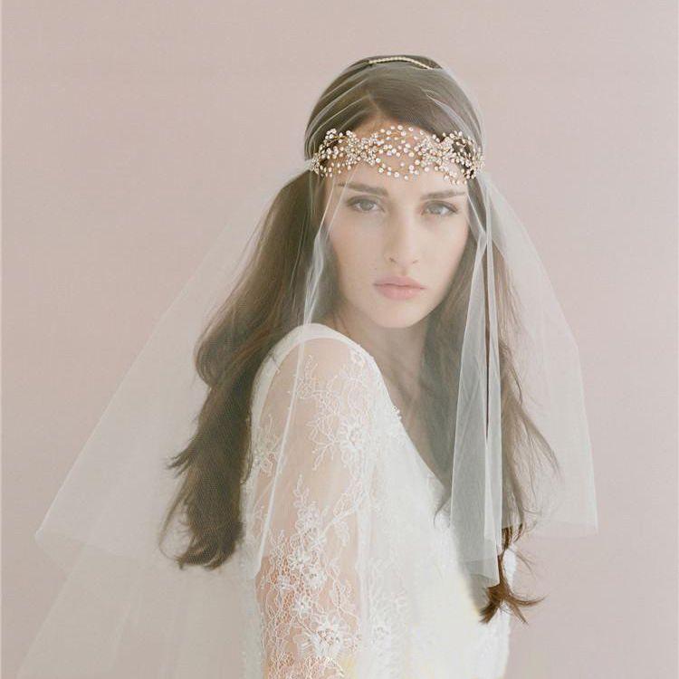 Vestiti da sposa vintage con pezzi di capelli un tier a gomito lunghezza rhinestones pettine ramoscelli miele copricapo nuziale veli da sposa # v010