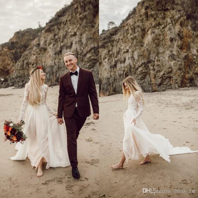 Bohemian Country Beach Suknie ślubne z czystymi długimi rękawami 2017 koronki Appliqued Szyfonowe Długie Boho Suknie ślubne Custom Made China EN9291
