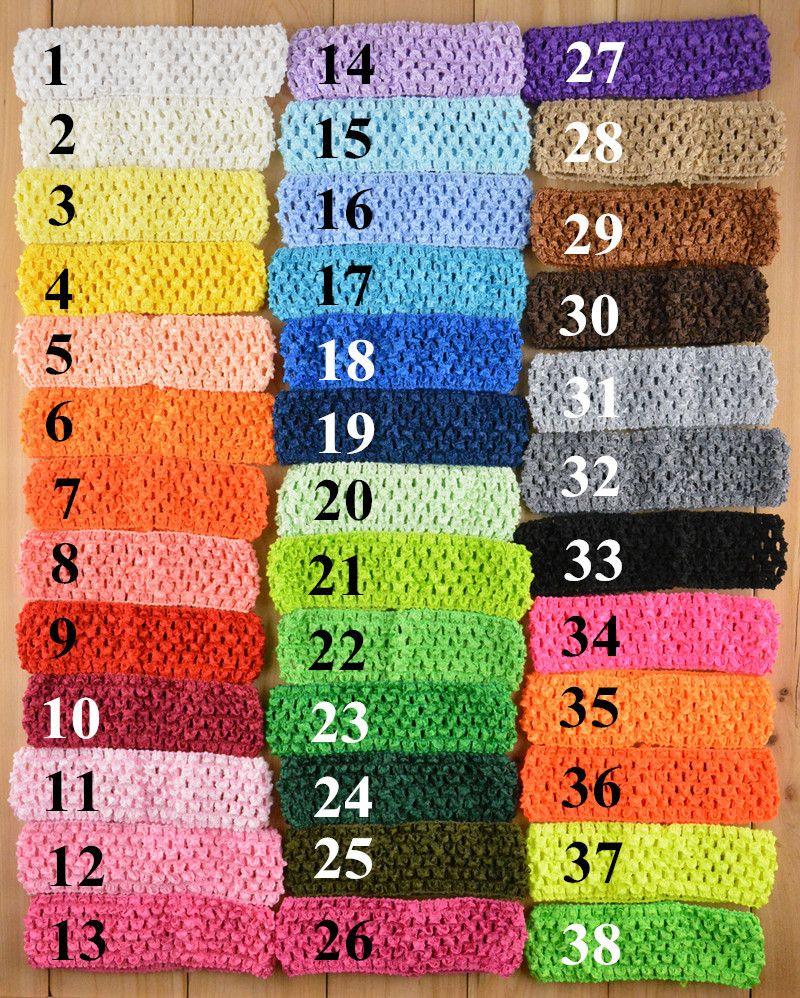 1.5inch 38彩色幼児用ドットかぎ針編みヘッドバンドエレガントキッズベビー子供女の子生地卸売かわいいヘッドバンド子供のヘアアクセサリー