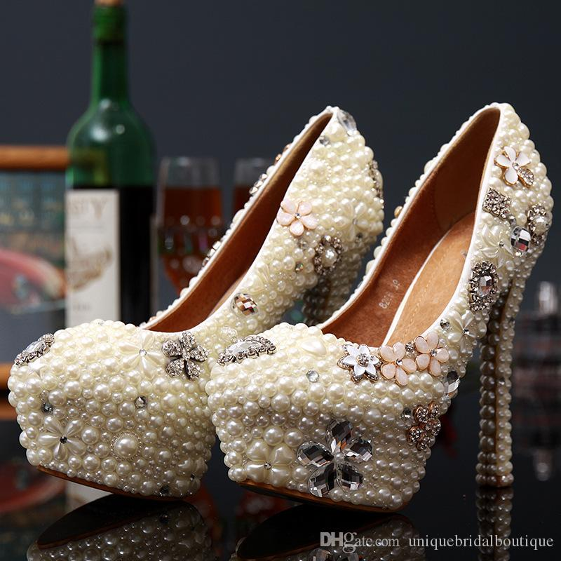 2021 Pearls Wedding Shoes in High Heels 14cm 12cm 10cm 8cm 3cm Crystals Bridal Party Shoes Fast Shipping