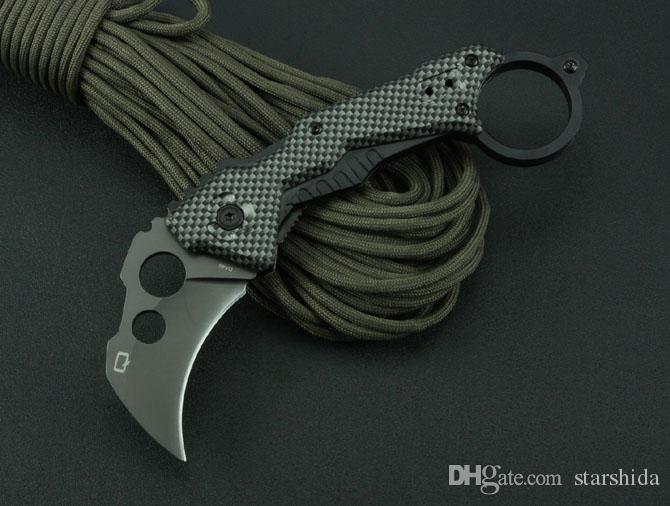 Quartermaster QTR-Z Karambit QTRM5TR Claw Tactical Folding Knife 3Cr13Mov 55HRC Titanium Aluminum Handle Camping Hunting Survival EDC