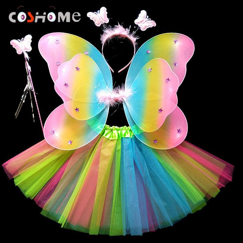 Coshome Çocuk Kelebek Cosplay Prenses Kostümleri Bebek Erkek Kız Çocuklar Performans Kanatları + Etek + Headdress + Wands 4 adet / takım
