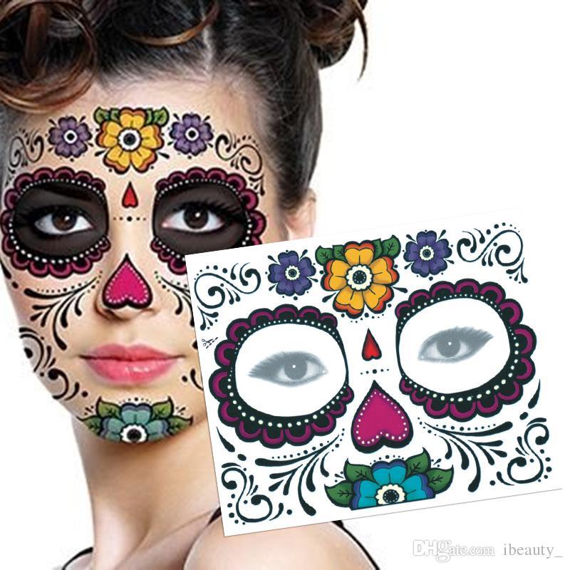 1PCS 방수 가짜 임시 문신 Sticker Skull Face Mask Tattoo for Women 3 색을 쉽게 오래 오래 지속 가능