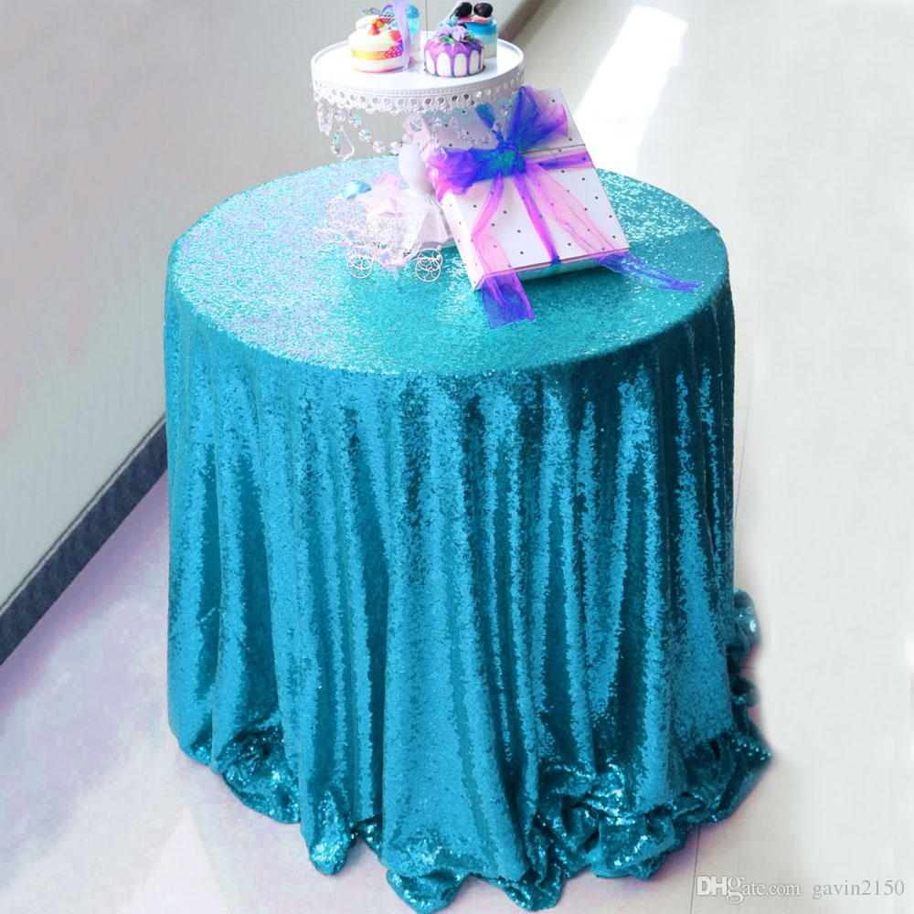 Free Shipping High Quality 132inch Blue Sequin Tablecloth Table Cover For Wedding Banquet Party Home Decoration