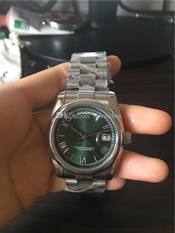 Relojes de Hombre para hombre en acero del reloj para hombre verde de la venda de la cara del reloj del 097