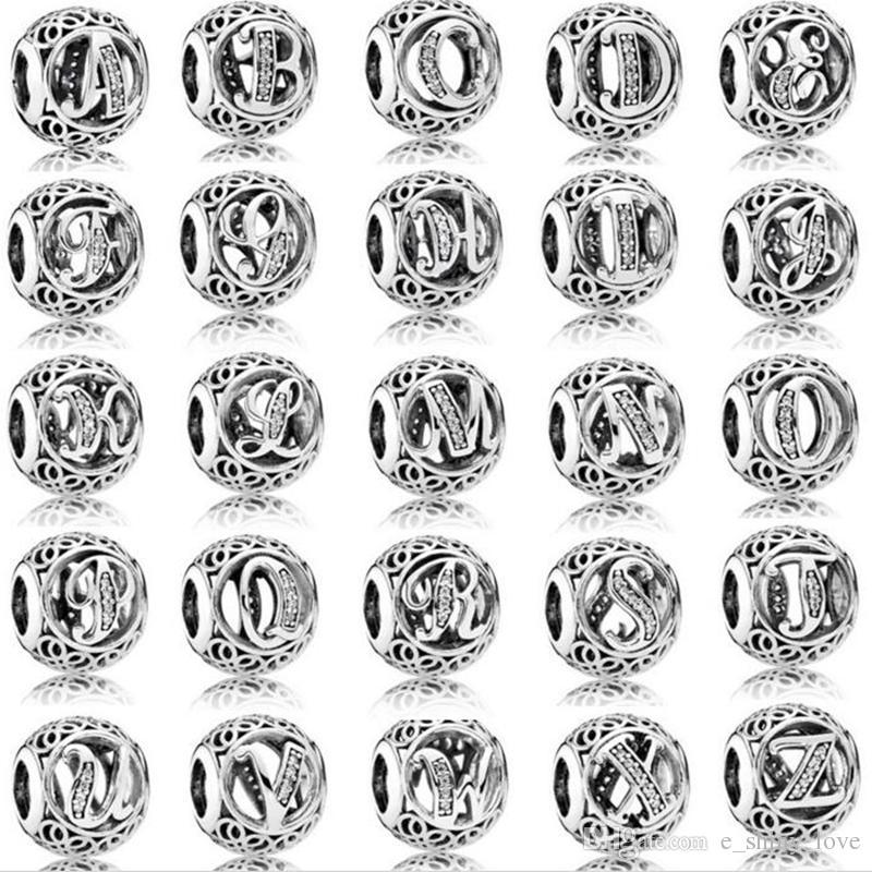 26 unids / lote Moda Genuina 100% 925 de Plata Esterlina Granos de la Letra Redonda Para la Marca Europea Pulsera de Lujo Auténtico DIY Regalo de La Joyería STB151