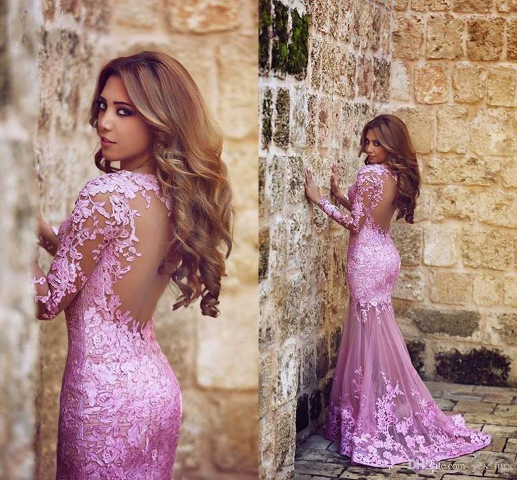 Hot Saïd mhamad sirène Tulle dentelle prune Appliques robes de soirée balayage train manches longues partie formelle pure illusion Retour arabe bal Robes