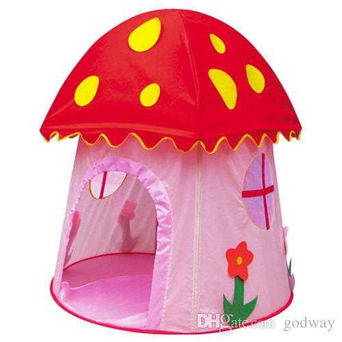 새로운 어린이 키즈 버섯 게임 실내 및 야외 통풍 안전을위한 하우스 텐트 플레이 하우스