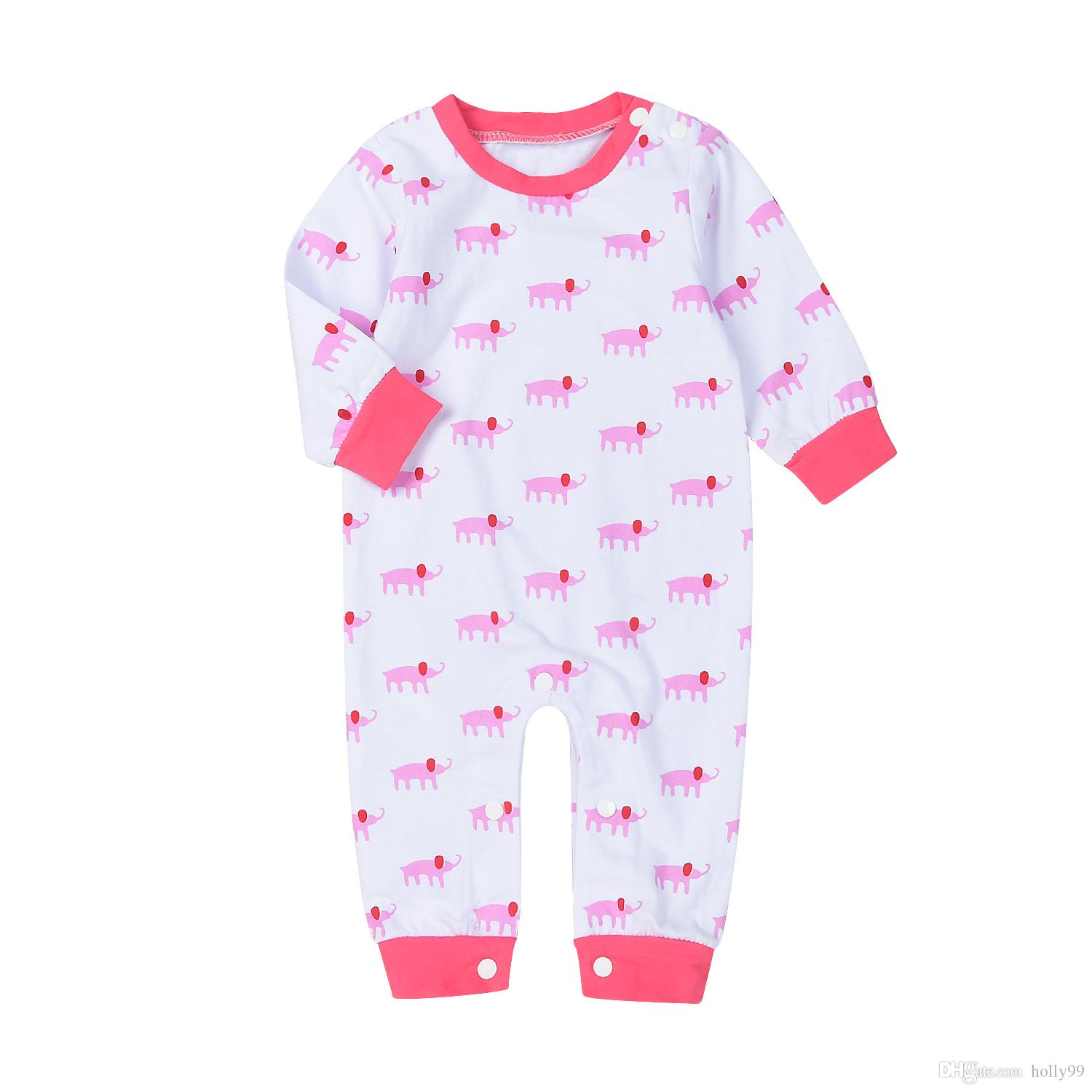 Hot Selling Spring Autumn Toddler Baby Girl Pink Cute Elephant