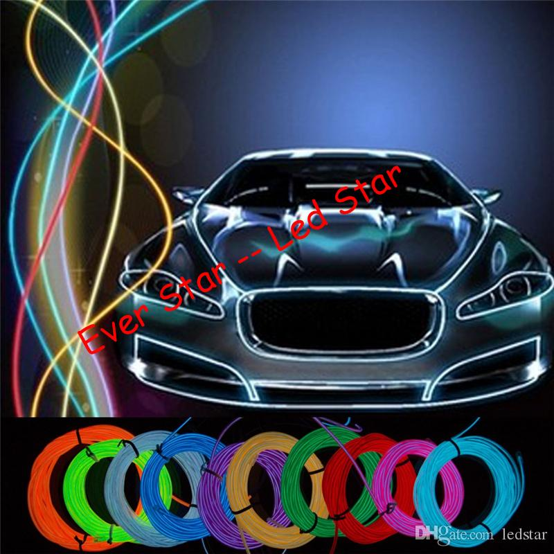 2018 3m 3v Flexible Neon Light Glow El Wire Rope Tape Cable Strip ...