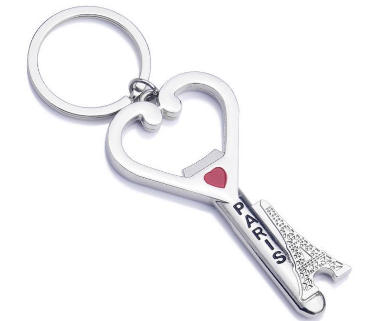 باريس برج ايفل التذكارات مفتاح سلسلة القلب فتاحة زجاجات الحلي تصميم الأزياء المعادن سلسلة المفاتيح مصنع بيع عالية الجودة