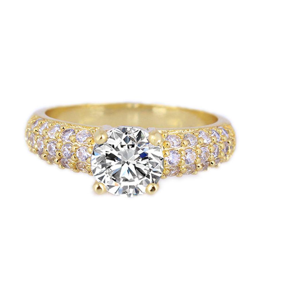 솔리테어 링 라운드 컷 18k 옐로우 골드 채워진 신부 여성용 반지 사이즈 7