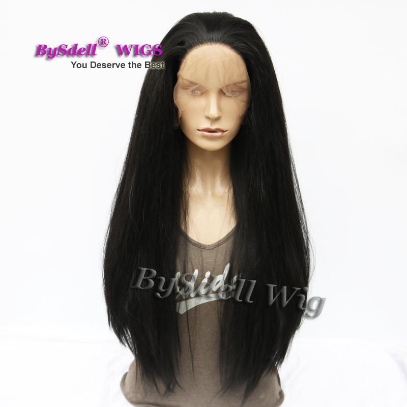 Горячие продажи природных черные волосы Яки прямо свободная часть кружева перед парик синтетические термостойкие Glueless кружева перед парики для чернокожих женщин