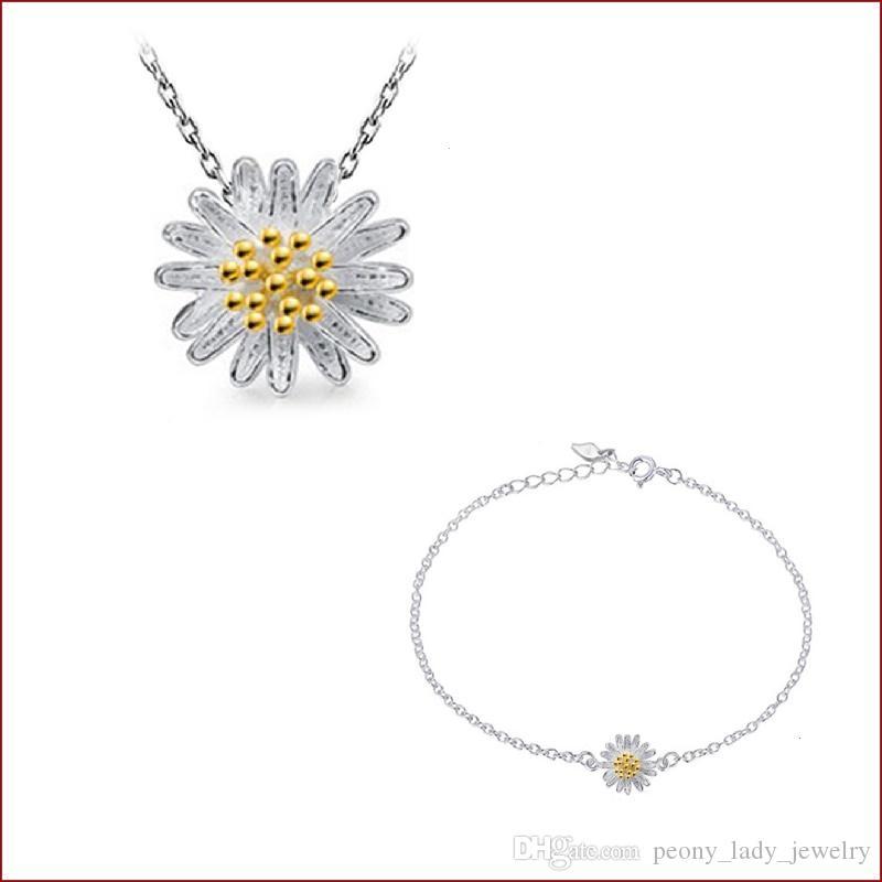 925 Sterlingsilbereinzelteilschmucksachesatzarmbandaussagenhalskettenweinlese ethnische goldene silberne Sonnenblumegänseblümchenblume