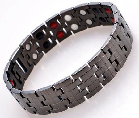 2015 fashion jewelry pure Titanium health care magnetic therapy bracelet black plated men's health energy bracelet 4 in 1 bio