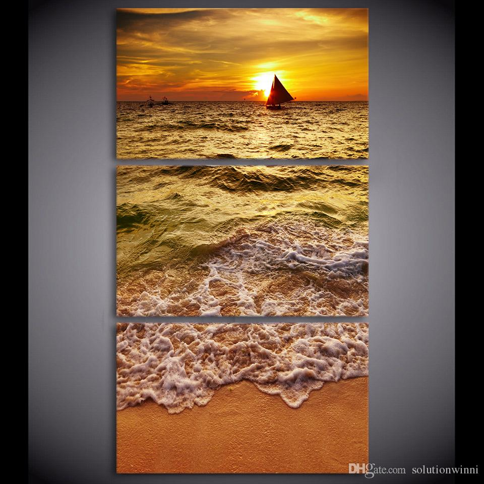 SAILING TO THE SUNRISE BOAT SEA CANVAS WALL ART PRINT PICTURE READY TO HANG