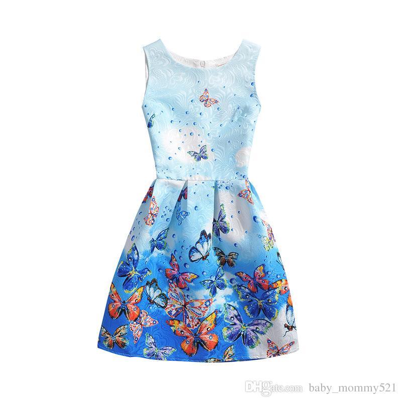 2018 Girls Printed Dresses Kids Floral Sleeveless Dress Teenage ...