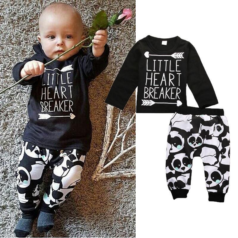 hot sale boys sets 2pcs Newborn Infant kids baby Boy Girl black T-shirt+Pant LITTLE HEART BREAKER funny words printed tshirt Autumn suits