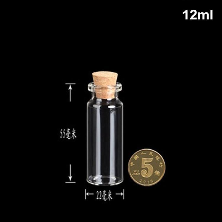 22 * 55 мм 12 мл популярная мода 100 шт. симпатичный мини-прозрачный пробковый затвор стеклянные бутылки флаконы банки контейнеры маленькие бутылки