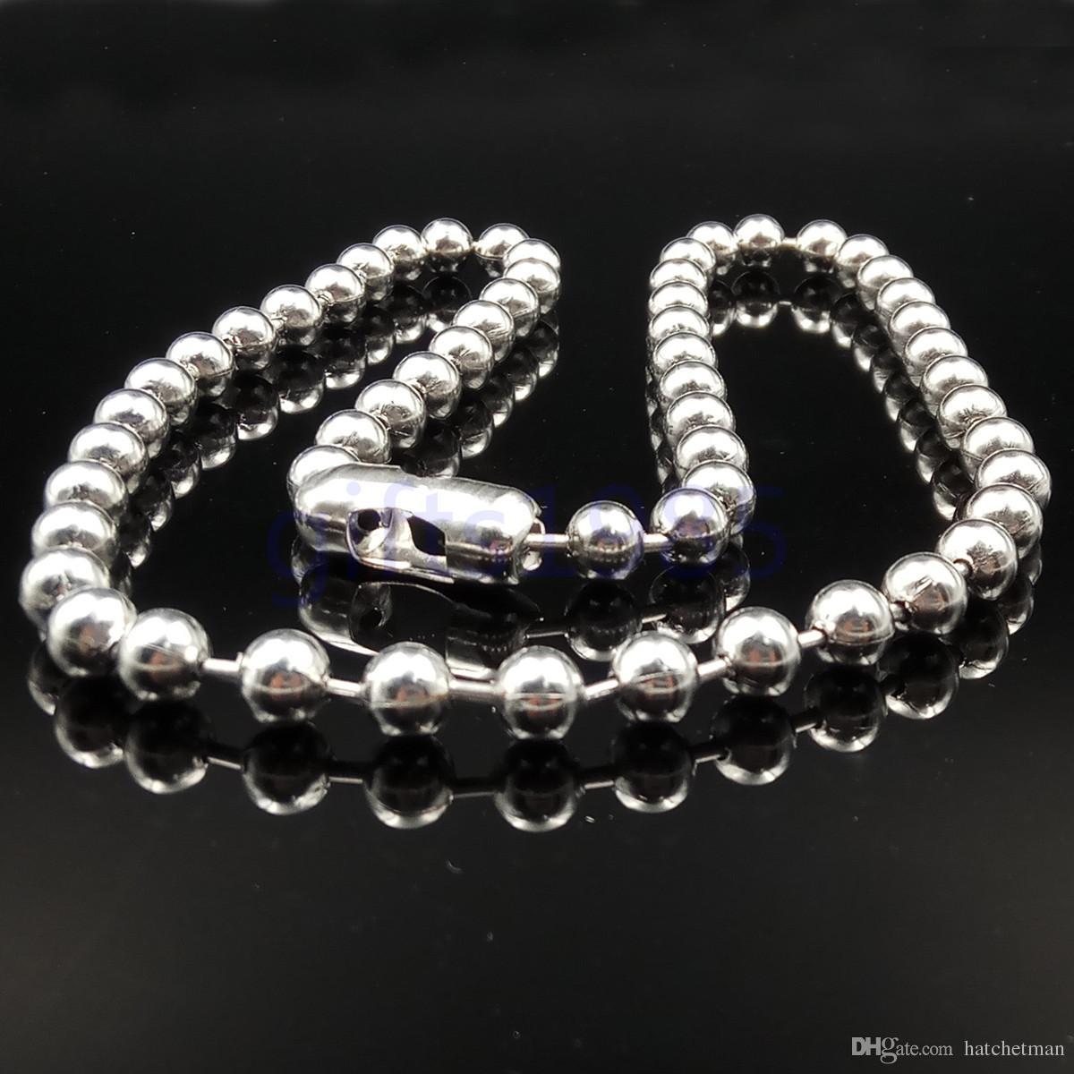 Corrente dos homens 6mm de aço inoxidável grande bola 26in colar e 9in conjunto de pulseira