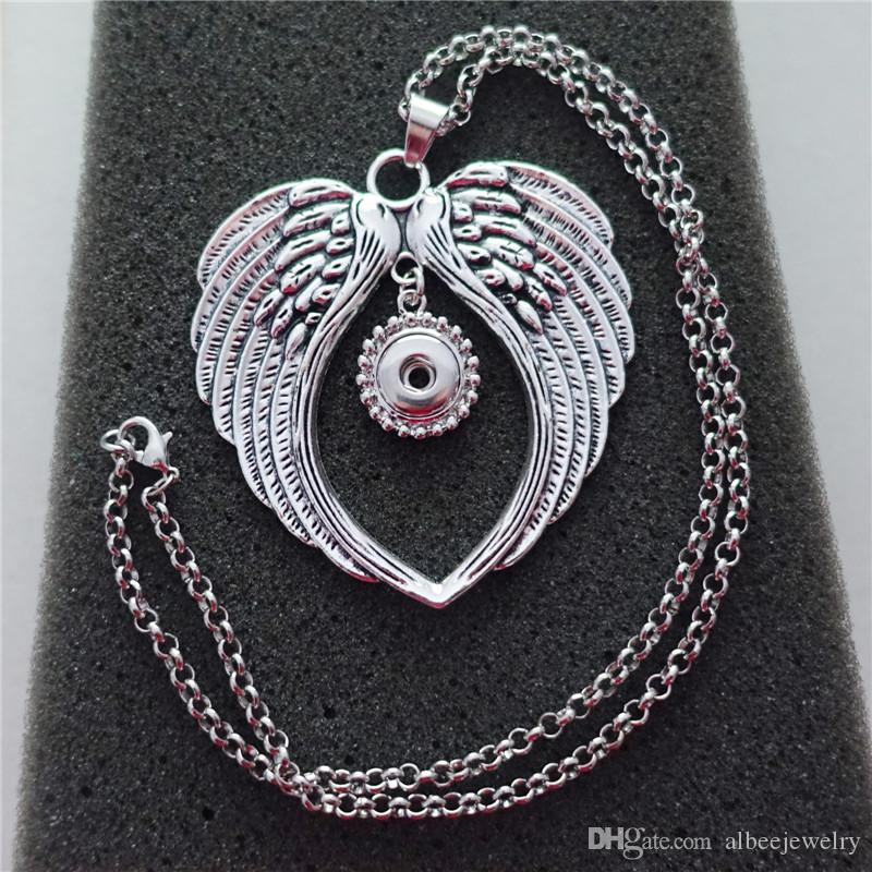 Vintage Fashion Antique Silver Big Angel Wings Noosa Chunks Metal Ginger 12mm Snap Button Pendant Necklace For Men & Women