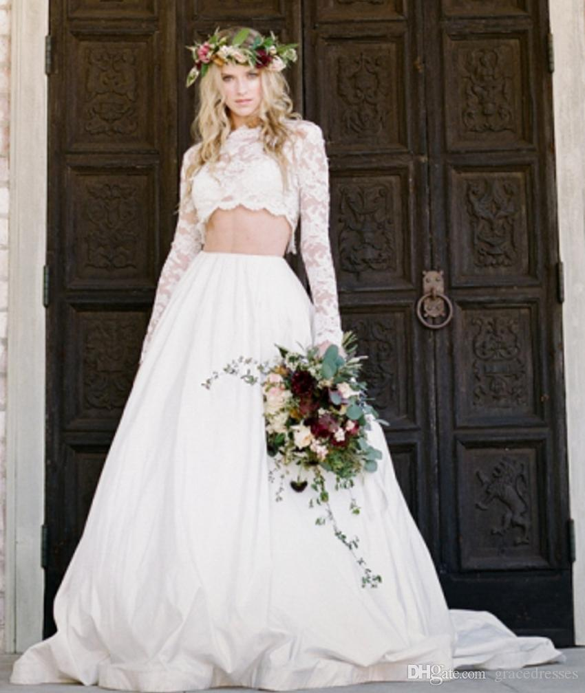 Bridal Two Piece Wedding Dress Applique Illusion Long Sleeves Sheer Lace Crop Top Satin Skirt