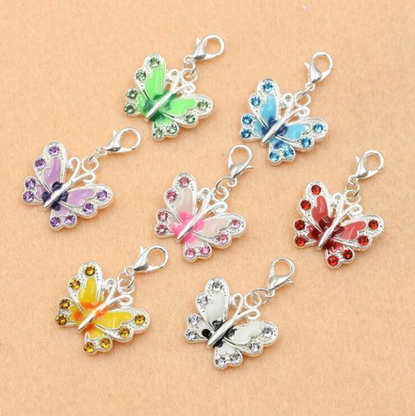 Mischversilbert Emaille Kristall Schmetterling Charme Armband Karabinerverschluss Schmuck Diy Schmuck, Die Entdeckungen 36x21mm,