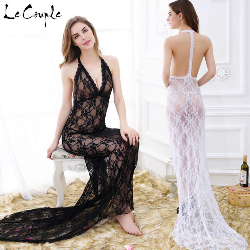 Wholesale-Backless Lace Nachthemd für Frauen Maxi Lace Night Dress Dessous Sexy V-Ausschnitt Nachtwäsche Sleeveless Babydoll Dessous Stock Länge