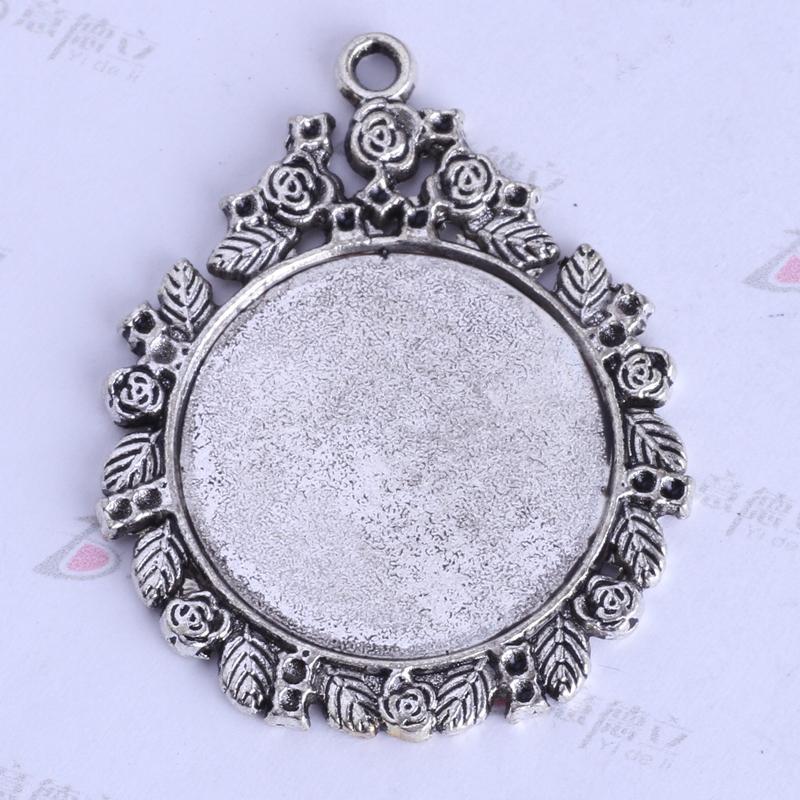 44.9 * 35.8 * 2.4mm ronda base de corcho amuletos vintage antiguo Plata / aleación de bronce colgante de zinc joyería DIY colgante collar en forma 40pcs / lot 2526