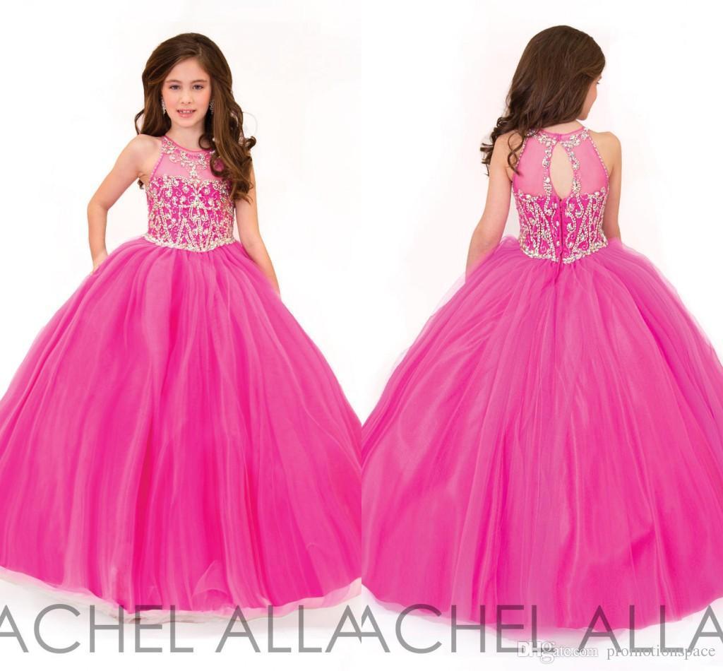 2016 Rachel Allan hermosa fucsia vestido de bola vestidos de desfile para adolescentes rebordear Crystal Girls vestidos formales vestido de fiesta