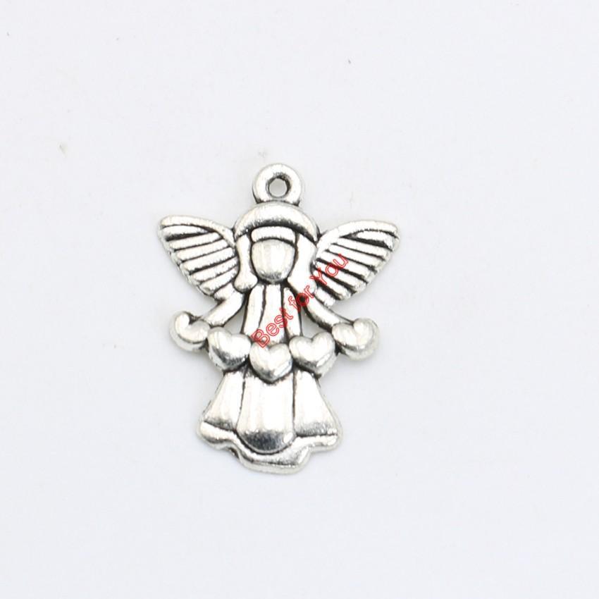 Fascino antico placcato argento Fascino della ragazza del pendente della collana dei monili che fanno DIY Handmade 22x17mm