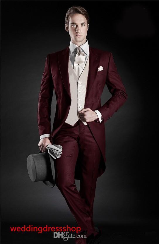 Hermoso estilo de la mañana Novios de esmoquin Pico de solapa Traje de los hombres Padrino de boda de Borgoña / Best Man Wedding / Trajes de cena (chaqueta + pantalones + chaleco)
