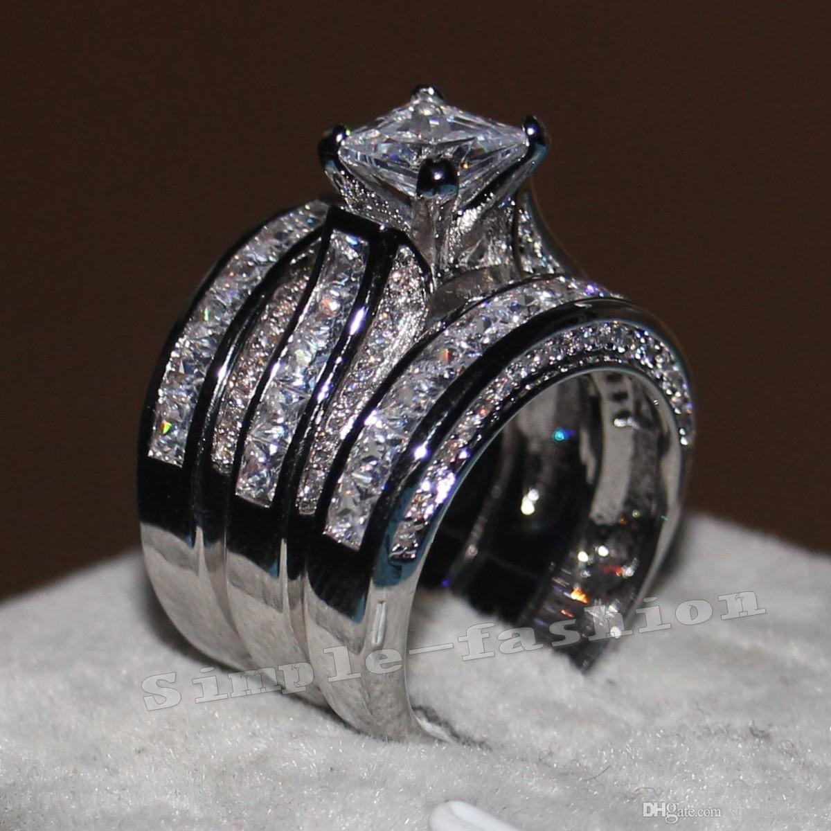 Vecalon Fine Jewelry Princess taglio 20ct diamante Cz Fidanzamento Wedding Band Ring Set per le donne 14KT Anello in oro bianco con piega