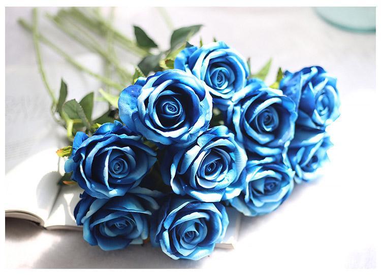 13Colors Vintage Artificial Flowers Rose 51 CM/20 Inch Rose Bouquets for Bridal Wedding Bouquet Decoration