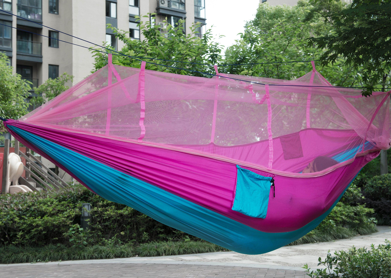 Tecido de pára-quedas de mobiliário ao ar livre Caminhando Hammocks Balanço cama Balanço Acampamento Ao Ar Livre Cama de suspensão com cama anti-mosquito Net frete grátis