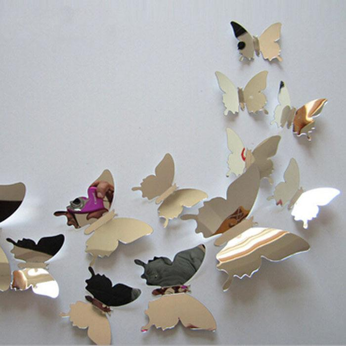 12Pcs/lot New Arrive Mirror Sliver 3D Butterfly Wall Stickers Party Wedding Decor DIY Home Decorations for Kids Rooms Adhesive