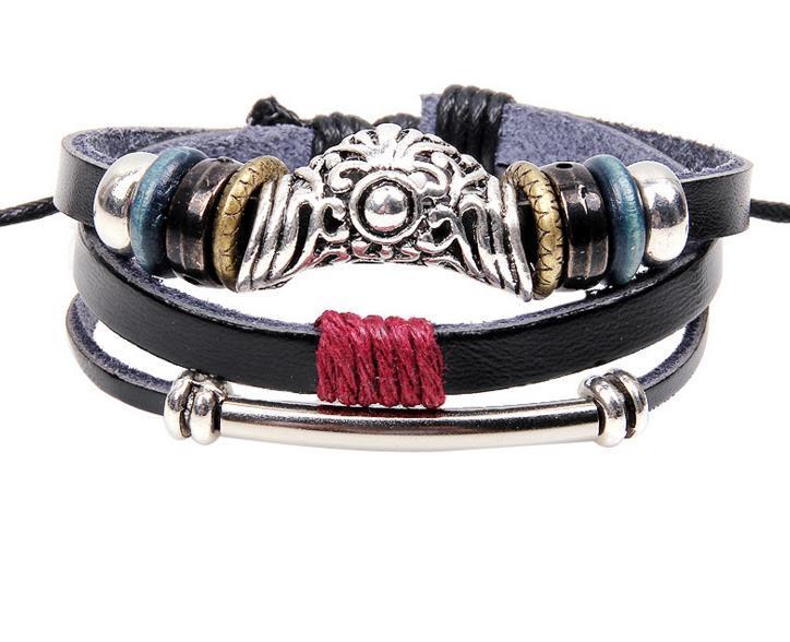 2016 Hot Coreano pulseira de couro tendência de jóias cadeia de contas oco flor retro jóias Senhoras Pulseira