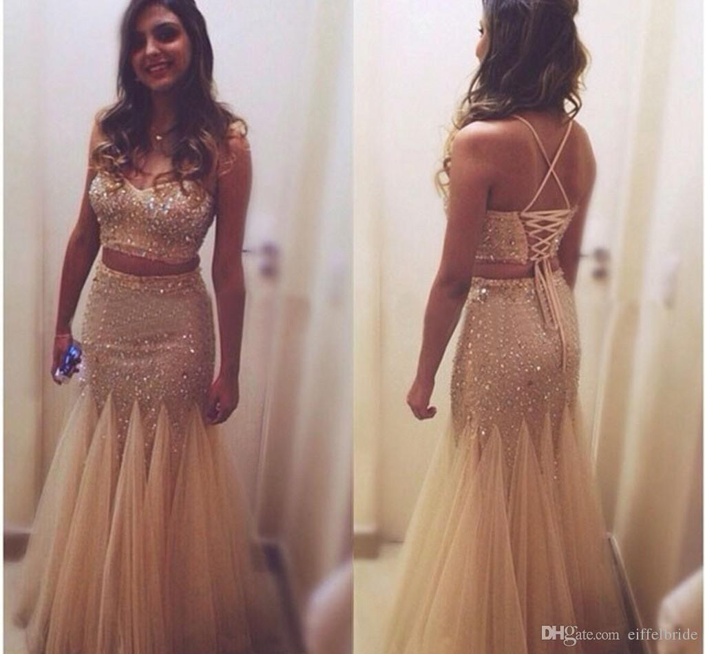 2016 Sparkly Crop Top Two Piece Prom Dresses Indian Sexy Bling