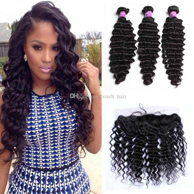 Silk Base Lace Frontal Closure With Bundles 13*4 Ear To Ear Hidden Knots Peruvian Hair Deep Wave Curly With Frontal