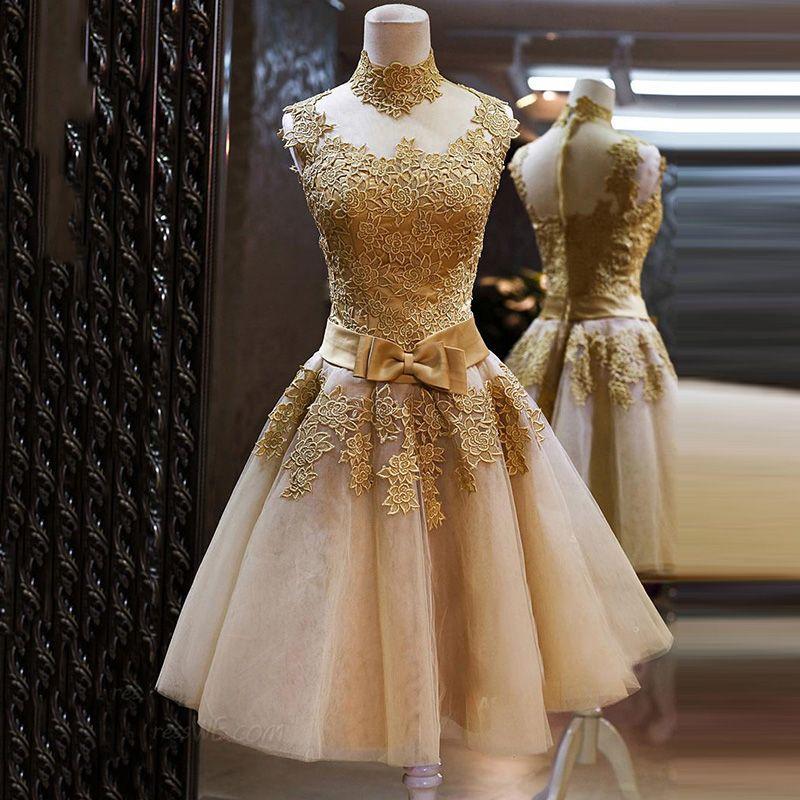 Robe de demoiselle d'honneur de robe de demoiselle d'honneur en tulle courte en dentelle avec appliques 2016 robe de soirée en or longueur genou