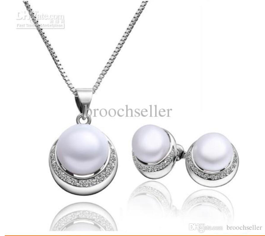 Weißes Gold überzogen Perle und CZ Strass Kristall Brautjungfer Anhänger Halskette und Ohrstecker Schmuck-Set für Hochzeit