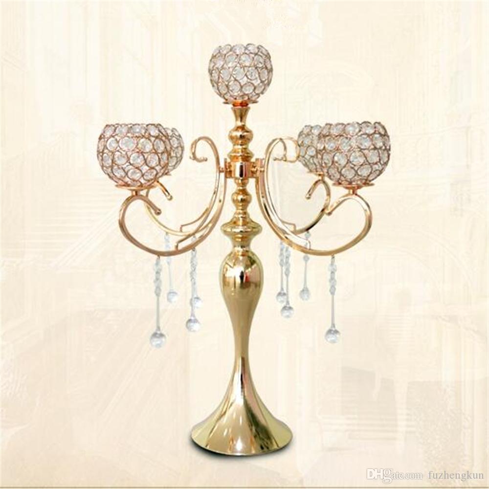 65 cm yükseklik 5-arms metal Altın kolye ile şamdanlar şamdan mumluk ev dekorasyon 10 adet / grup