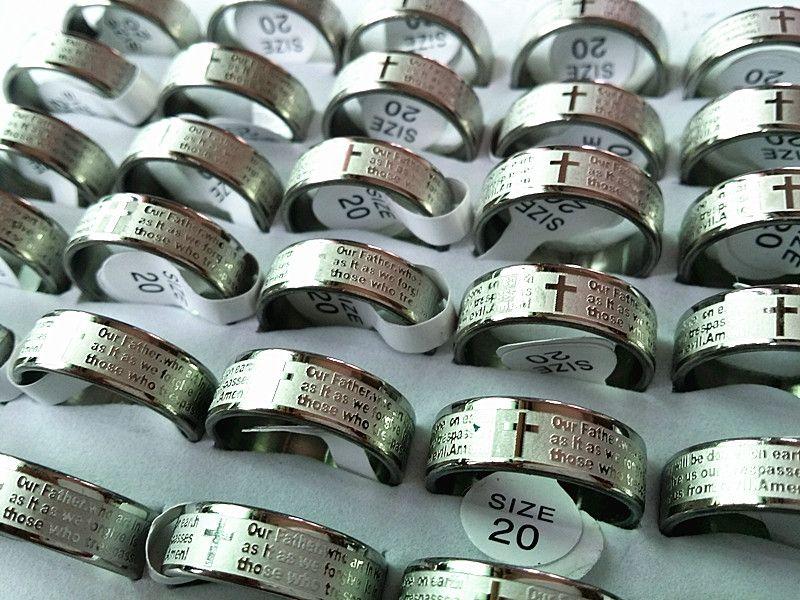 Brand New 25PCS Inglese Il Lord's Prayer Incisione in acciaio inox lucido gioielli da uomo all'ingrosso lotti misti