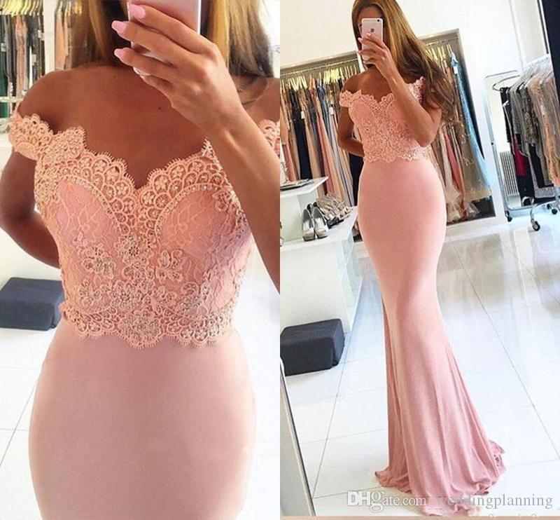 2017 Mermaid V Neck Prom Dresses Lace Appliques Beaded Cap Sleeves Off Shoulder Sheath Formal Party Dress Plus Size Evening Gowns