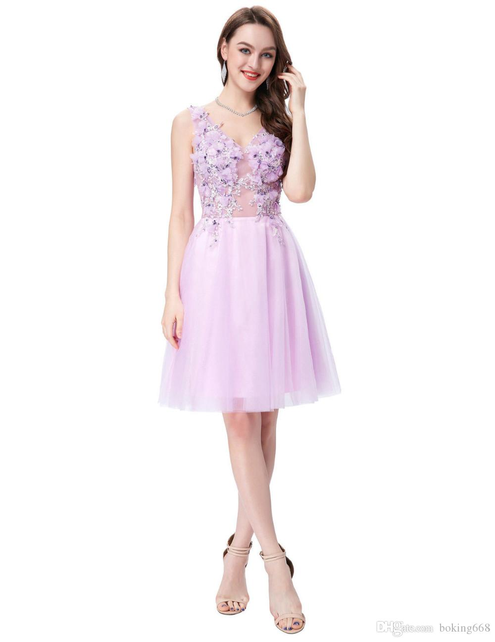Cheap Pink Bridesmaid Dresses Short Knee Length Flower Appliques Guest Dress Prom Dress Corset Tulle Bridesmaid Ball Gown free shipping