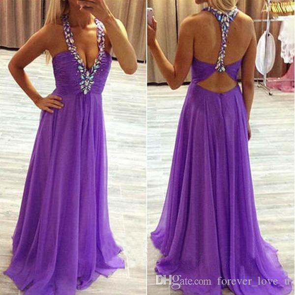 New Beach Wedding Party Bridesmaid Dress Sexy Crystals Halter Neckline Sleeveless Purple Chiffon Cut Out Open Back Long Maid of Honor Gowns