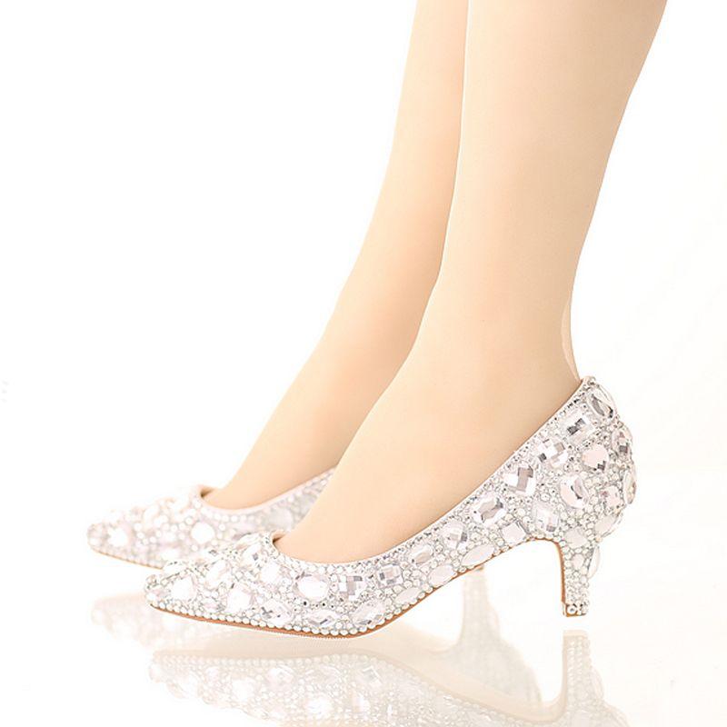 Bride Crystal Shoes Rhinestone Wedding Shoes Silver High Heel Platform Event Shoes Women Handmade Fashion Party Dress Shoes